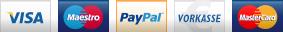 Zahlungsarten: Vorkasse, Paypal, Visa, MasterCard, MaestroCard